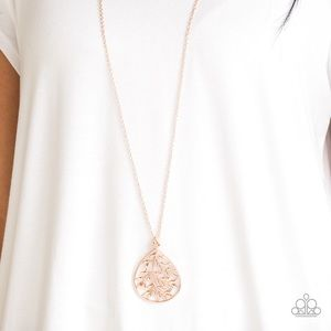Paparazzi long rose gold necklace